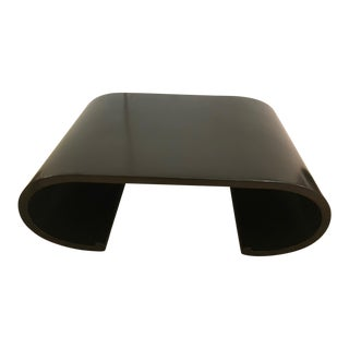 1960s Mid Century Modern Ebonized Waterfall Style Coffee Table For Sale