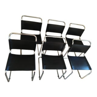 Bauhaus Style Cantilevered Black Leather & Chrome Dining Chairs - Set of 6