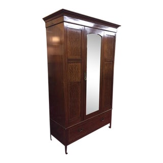 Antique Traditional Mahogany Wardrobe With Mirror For Sale