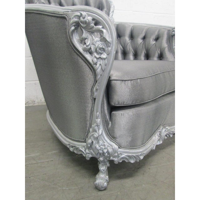 1940s Carved Rococo Style Silver Tufted Chair For Sale - Image 5 of 8