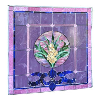 Vintage Art Nouveau Floral Stain Leaded Glass Window For Sale