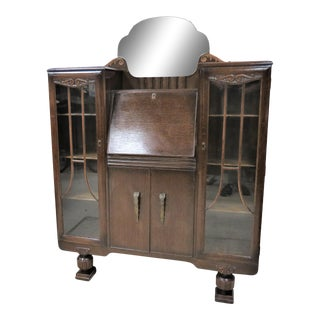 English Carved Oak Drop Front Secretary Desk With Side by Side Bookcases For Sale