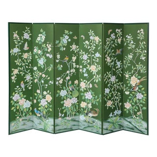 Green Chinoiserie Six-Panel Hand-Decorated Screen For Sale