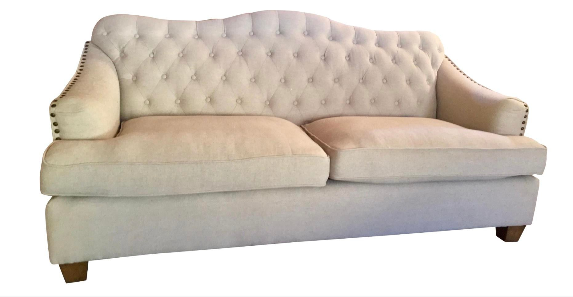 Etonnant French Provincial Tufted French Inspired Sofa For Sale   Image 3 Of 6