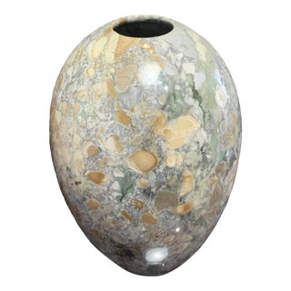 Polished Carved Gray Beige Stone Vase For Sale