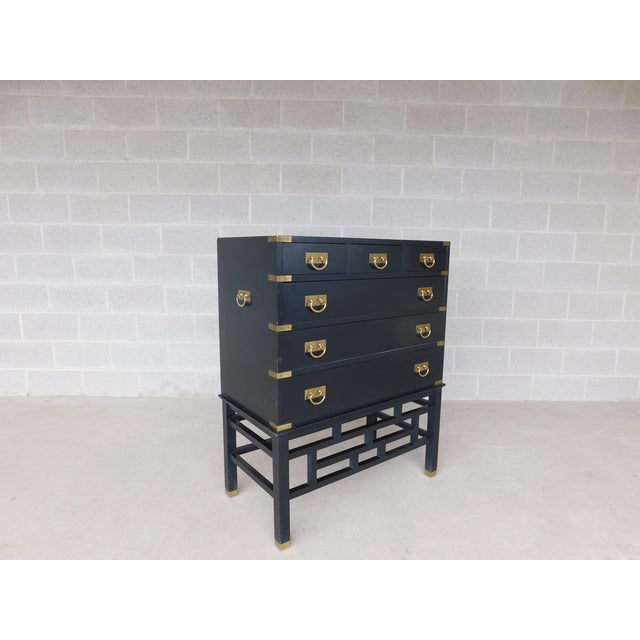 """Permacraft by Sanford Furniture Black Lacquer Asian Style Chest 35""""w X 43""""h For Sale - Image 12 of 12"""