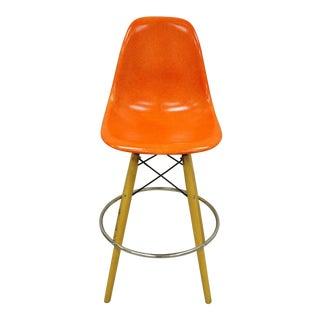 Modernica Orange Fiberglass Eames Style Shell Case Study Dowel Swivel Barstool For Sale