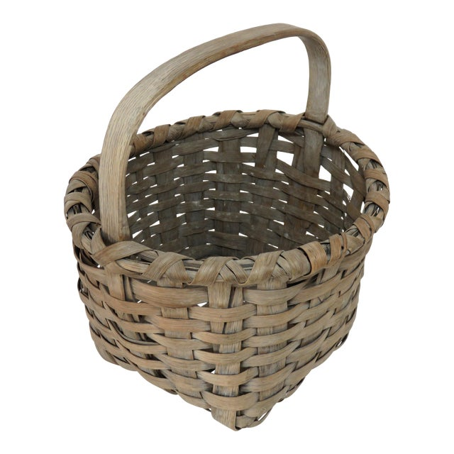 1900s Country Style Gray Basket For Sale