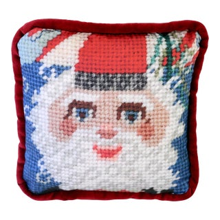 Santa Claus Red Velvet Pillow, Feather Down, Last Call! For Sale