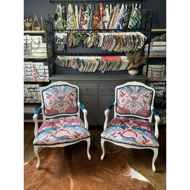 Vintage French Provincial Arm Chairs - a Pair For Sale - Image 9 of 10