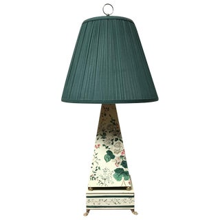20th Century Cottage Hand Painted Tole Obelisk Shaped Lamp For Sale