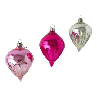 Vintage Glass Christmas Tree Ornaments in Cone Shape - Set of 3 For Sale