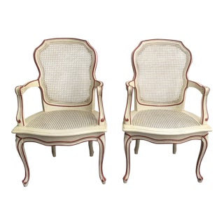 Vintage French Louis XV Style Caned Painted Arm Chairs- A Pair For Sale
