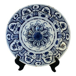 1800 Antique Delft Charger Plate For Sale