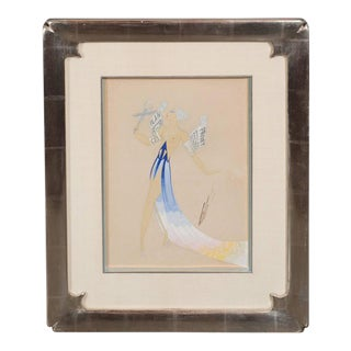 Original Art Deco Gouache on Paper by Erte in White Gold Custom Frame For Sale