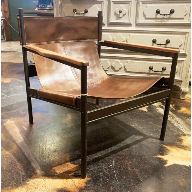Stunning Barcelona Chair in Vachetta Coffee leather made by the fabulous LA design stars Cisco Brothers. Metal Base,...