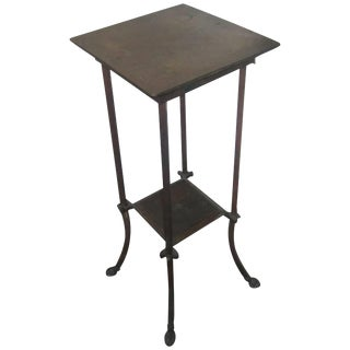 Antique Bronze Pedestal Table With Shelf and Decorative Paw Feet For Sale
