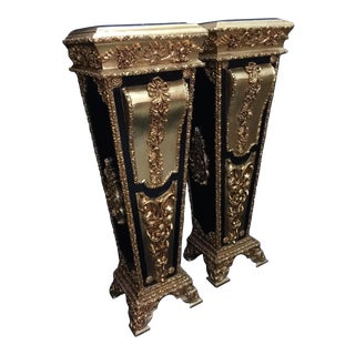 French Louis XVI Wooden Pedestal/Colums in Gold and Black With Marble Top - a Pair For Sale