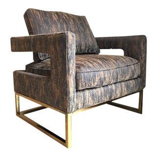 Milo Baughman Style Hollywood Regency Brass Framed Club Chair
