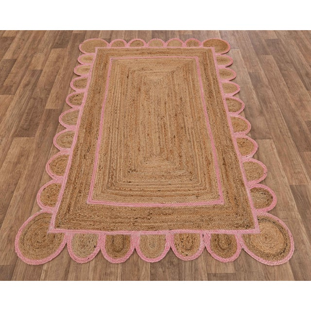 Scallop Jute Light PInk Hand Made Rug - 9'x12' For Sale - Image 6 of 11