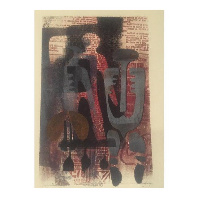 Original Vintage Mid-Century Wood Block Abstract Print - Image 1 of 5