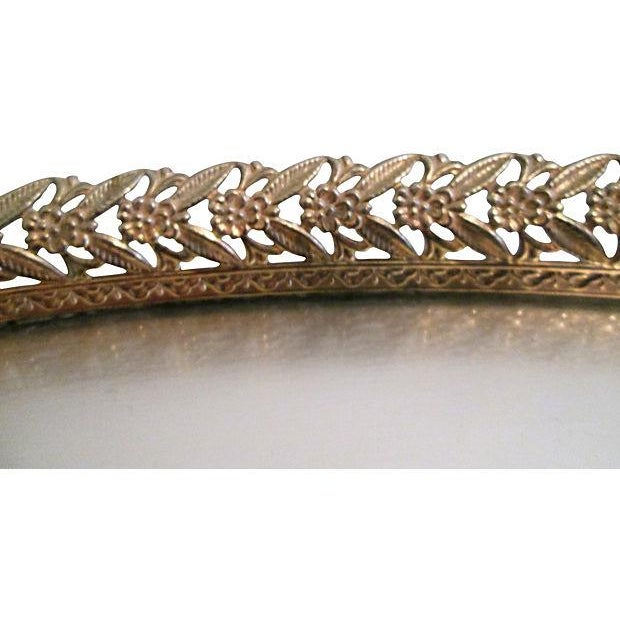 Midcentury Filigree Gold & Silver Foil Vanity Tray For Sale - Image 5 of 7