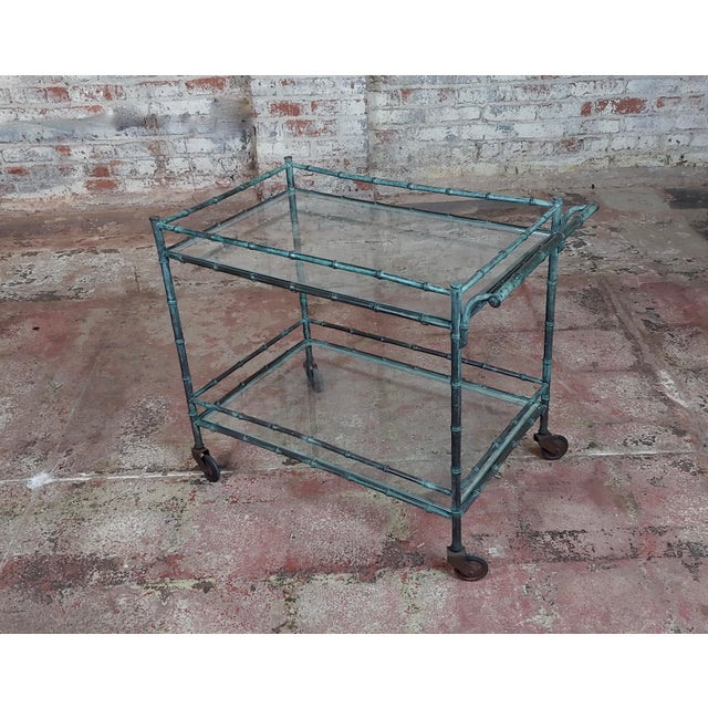 1930s Vintage Faux Bamboo Patinated Bronze Serving Bar Cart For Sale - Image 11 of 11