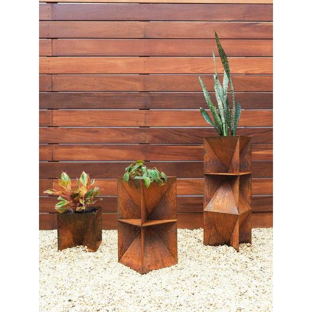 "Orange Origami Planter - Weathering Steel 14"" For Sale - Image 8 of 12"