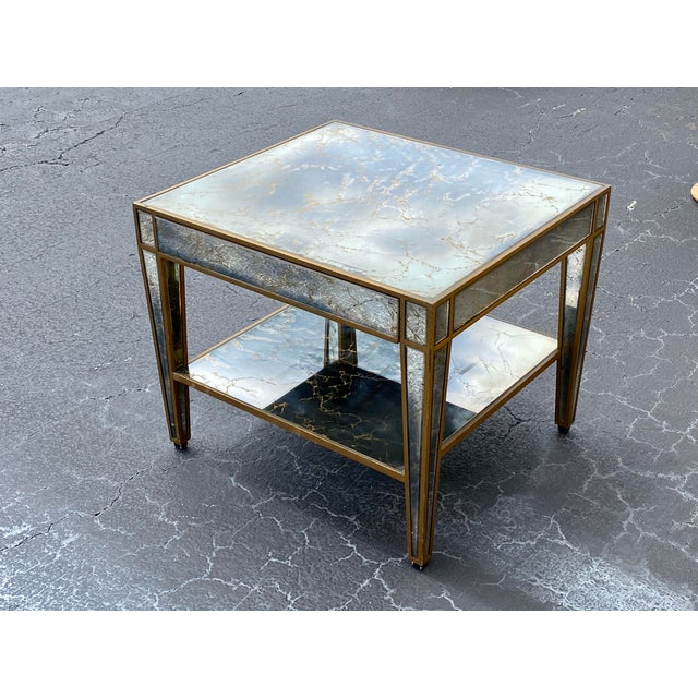 Hollywood Regency Mirrored End Table For Sale - Image 10 of 10