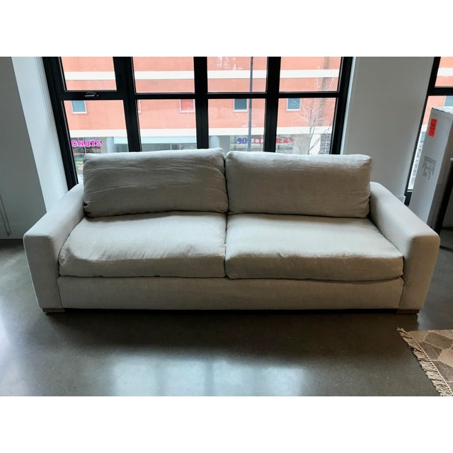 2010s Restoration Hardware Maxwell Upholstered Sofa in Belgian Linen For Sale - Image 5 of 11