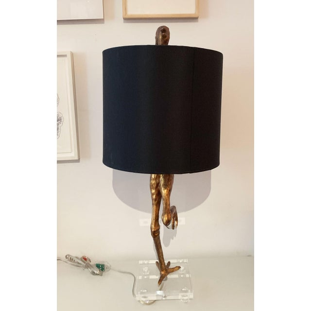 Metal Aged Gold Bird Lamp With Black Shade For Sale - Image 7 of 11