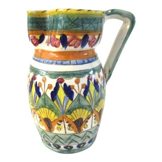 1950s Spanish Majolica Hand-Made Pitcher For Sale