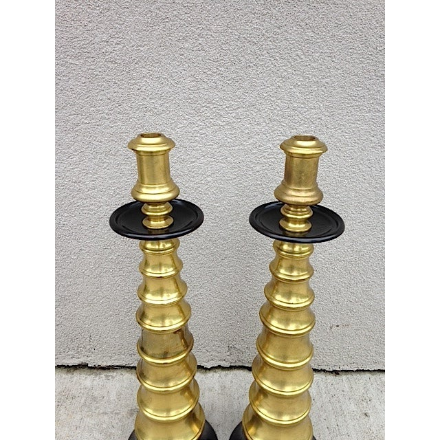 Large Vintage Brass Candlesticks - A Pair - Image 3 of 4
