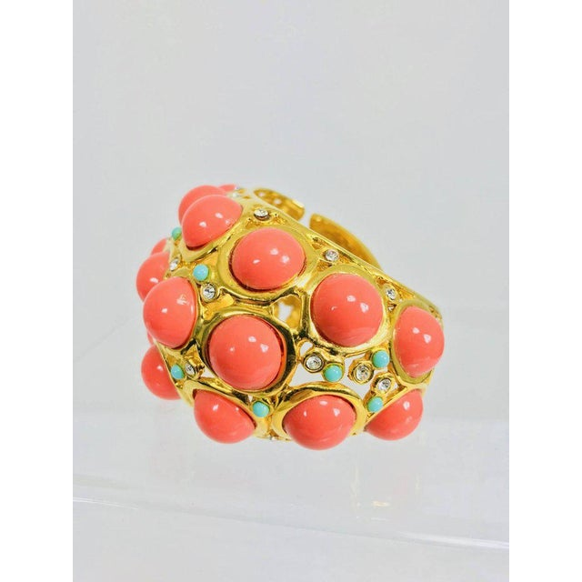 Fabulous Kenneth Lane large chunky open work gold cuff bracelet set with large faux coral cabochons, small turquoise...