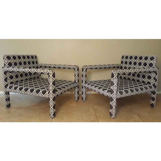 Stunning Jaw Dropping Pair of Mid Century 1970's Parsons Op Art Crossed Rope Black and White Upholstered Club Chairs that...