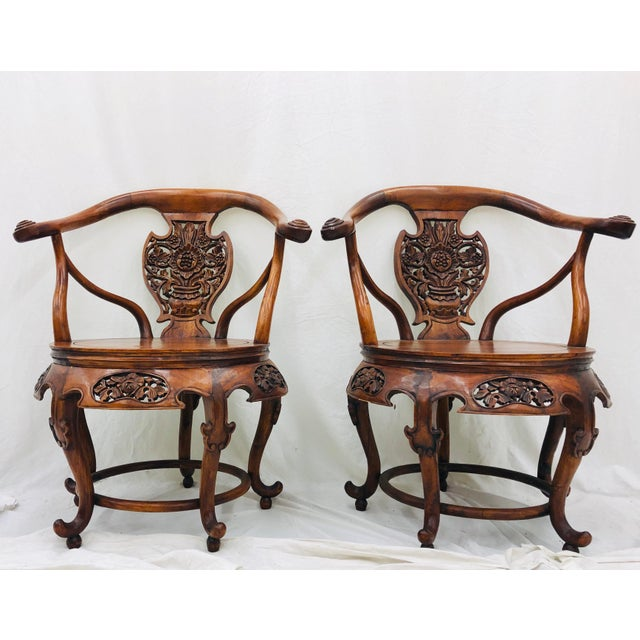 Pair Antique Carved Arm Chairs For Sale - Image 4 of 13