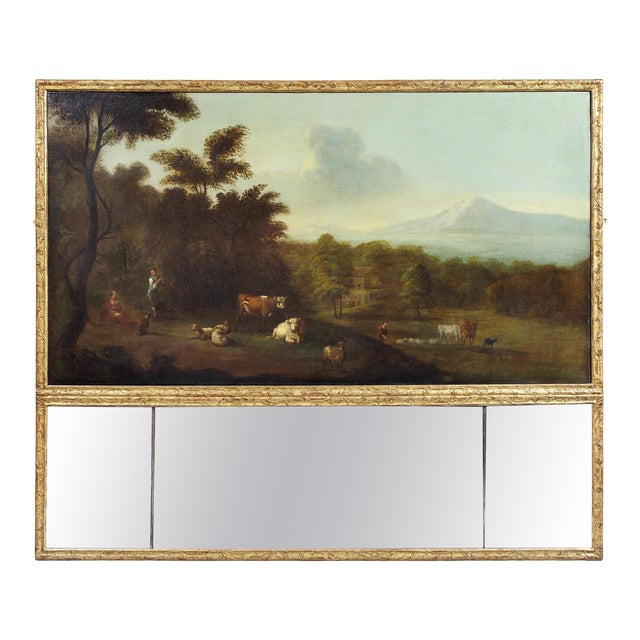 Georgian Giltwood Overmantle Mirror with Oil on Canvas Pastoral Scene Painting For Sale