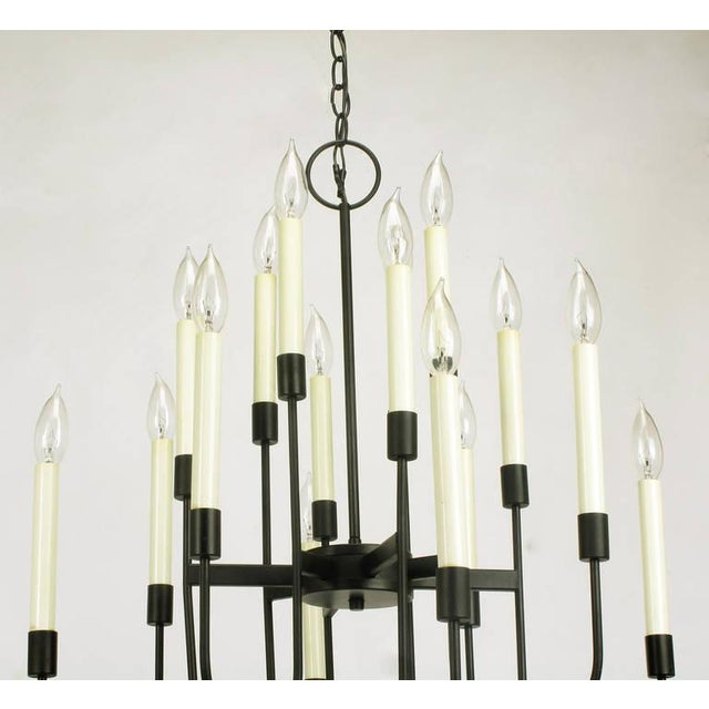 Lightolier Sixteen-Arm, Black Lacquer Chandelier For Sale In Chicago - Image 6 of 11
