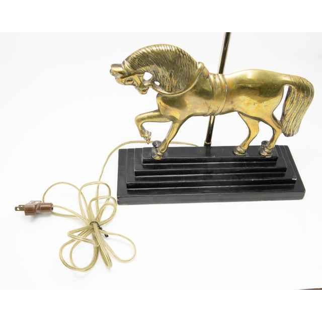 Metal Vintage Mid Century Brass Horse Lamp For Sale - Image 7 of 12