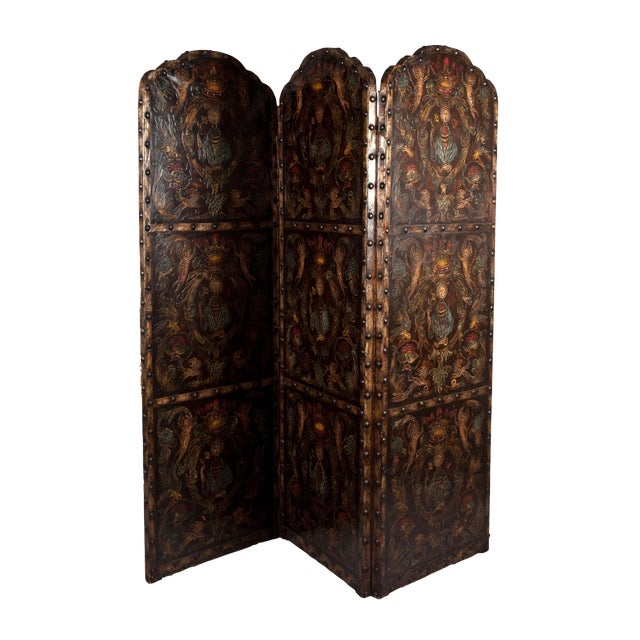Antique Allegorical Raised Leather 3 Panel Screen, Shades of Dark Brown, Blue, Red For Sale