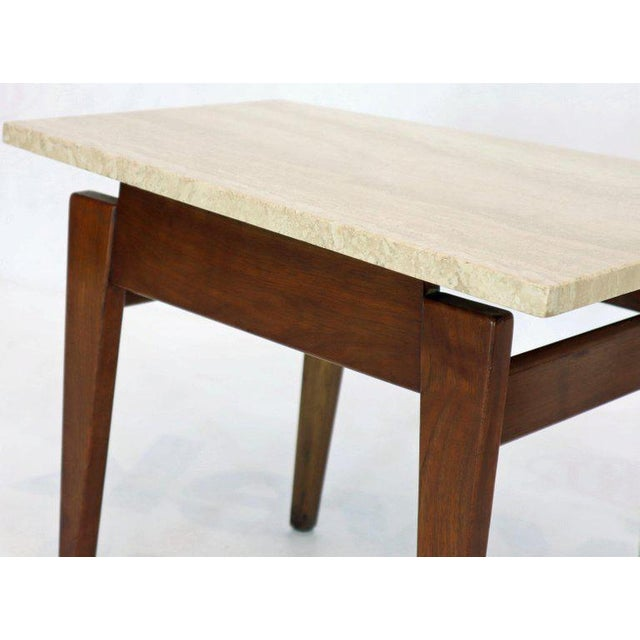 Risom Walnut End Tables W/ Wedge Shape Travertine Marble Tops - A Pair For Sale - Image 9 of 13
