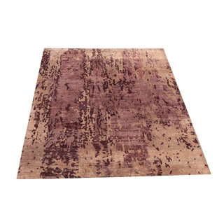 Modern Hand-Knotted Rose Pink and Brown Rug- 9′10″ × 8′2″ For Sale