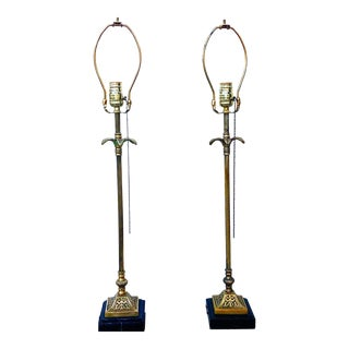 Vintage Brass & Marble Detailed Palm Tree Lamps, Pair For Sale