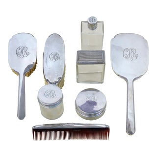 Antique Sterling Silver Engraved Ladies' Vanity Dressing -Set of 8 For Sale