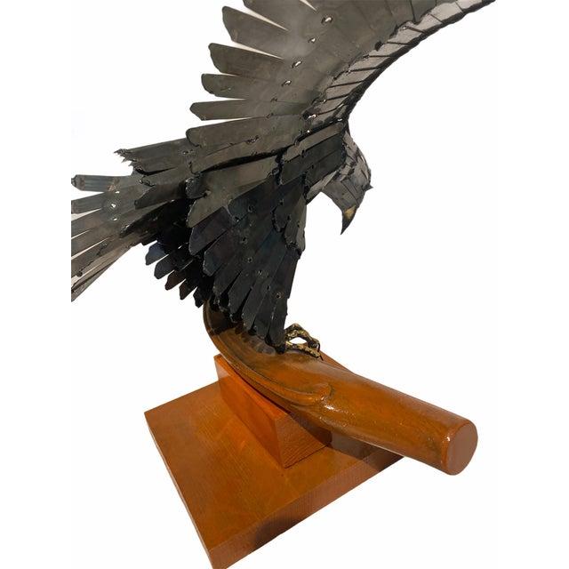 One of a Kind Vintage Artisan Mid Century Welded Metal Sculpture Flying Eagle On Wood