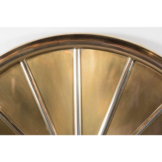 Pair of Mid-Centuy Modernist Arch Form Mirrors in Brushed Brass by Mastercraft - Image 5 of 6