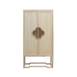 Minimalist Light Raw Wood Shutter Doors Bookcase Display Dresser Cabinet For Sale
