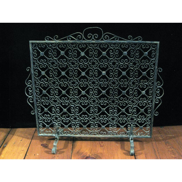 Cottage Vintage Wrought Iron Decorative Fireplace Screen For Sale - Image 3 of 5