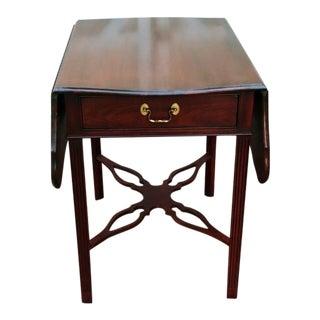 1980s Chippendale Councill Craftsmen Mahogany Drop Leaf Pembroke End Table For Sale