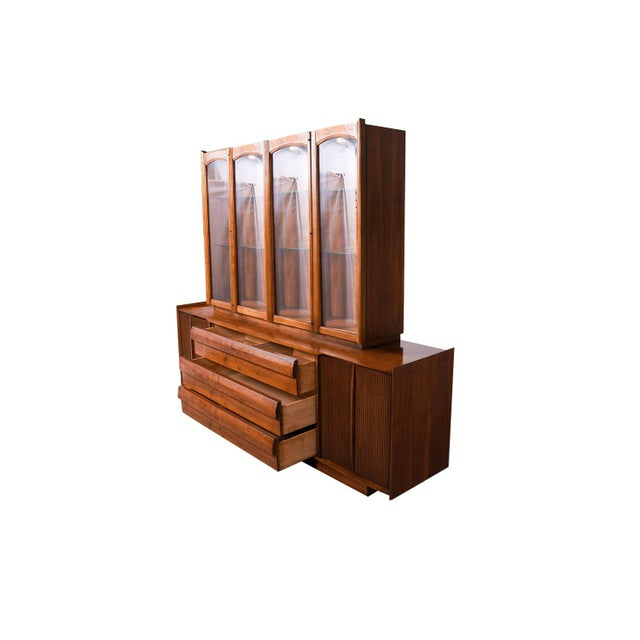 Mid Century Lane First Edition Walnut Buffet Credenza Hutch For Sale - Image 9 of 13